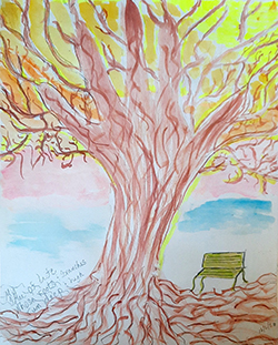 Drawing of a tree and park bench