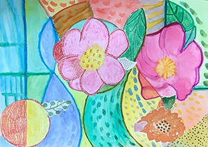 Abstract art with circles and flowers