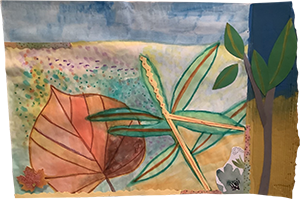 Painting of leaves with collage elements