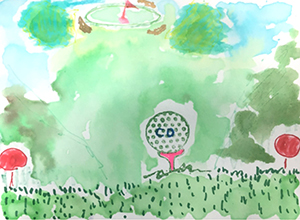 Watercolor painting of a golf scene