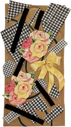 Collage of flowers, ribbons and patterned paper