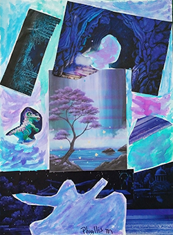 Collage landscape in blues and purples