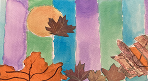 Watercolor painting with leaf collage elements