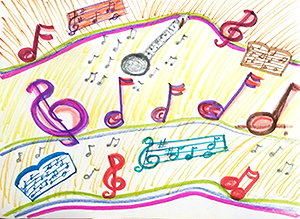 Drawing of musical notes
