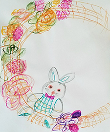 Drawing of a rabbit wreath