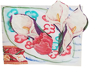 Artwork with calla lilies collage