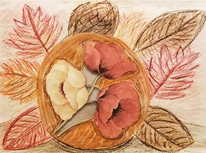 Drawing of fall leaves with collage flowers