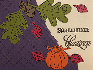 Autumn Blessing greeting card with paper cutout leaves