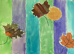 Watercolor stripes with collage leaf elements