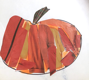 Artwork depicting a pumpkin using collage color paper