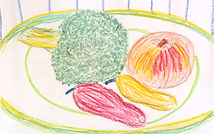 Still life drawing of vegetables on a plate