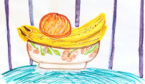 Still life drawing of fruit in a bowl