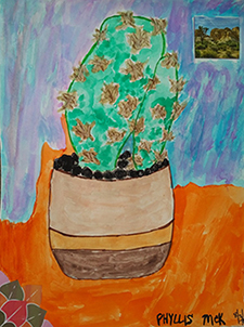 Artwork of a cactus in a pot
