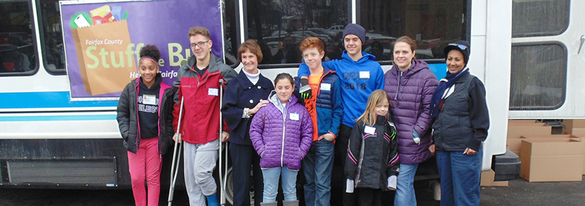 Chairman Bulova and volunteers at Stuff the Bus 2019
