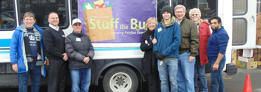 Supervisor Foust and volunteers at the McLean Stuff the Bus event