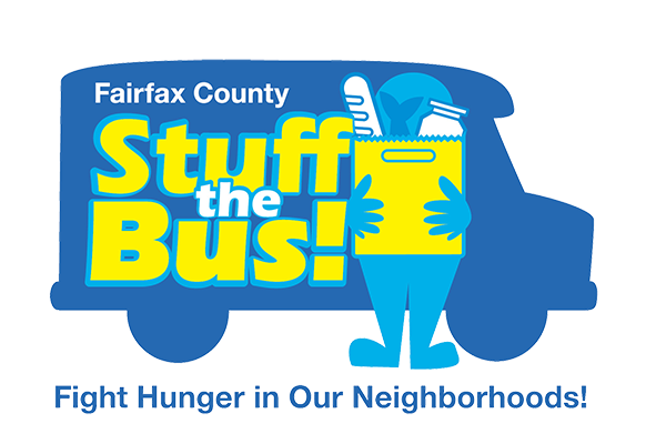 "Stuff the Bus logo with tagline ""Fight Hunger in Our Neighborhoods!"""