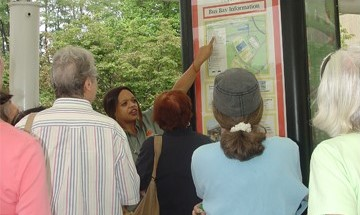 travel training group reviews a bus route map