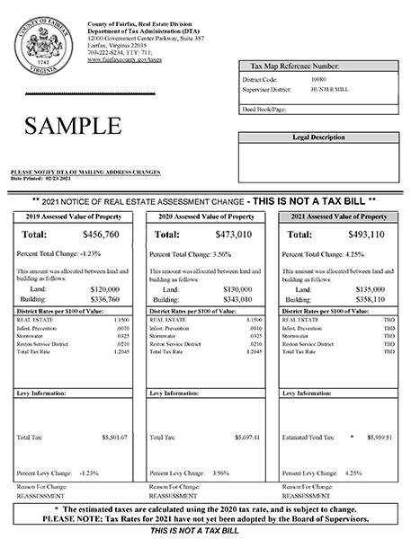Sample 2021 real estate assessment notice.