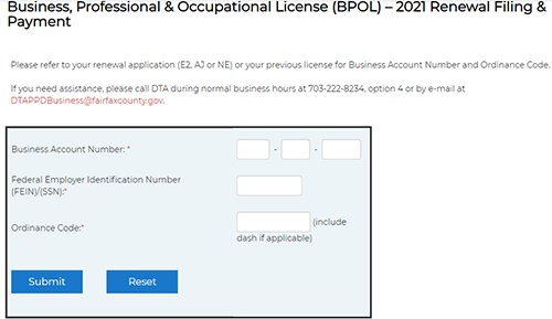 Pay BPOL license online.