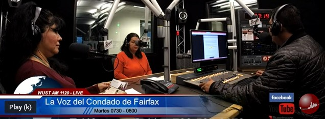 2019 WUST La Voz del Condado de Fairfax Podcast in studio