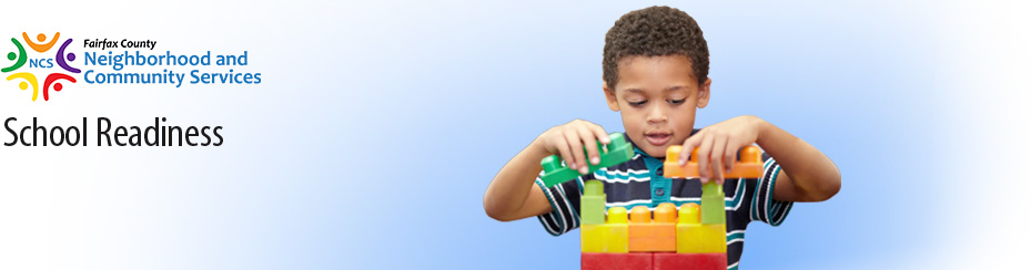 banner school readiness child playing with blocks