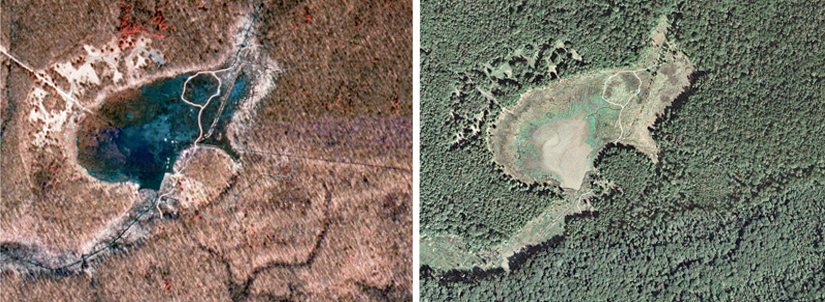 1994 and 2004 aerial views of Huntley Meadows