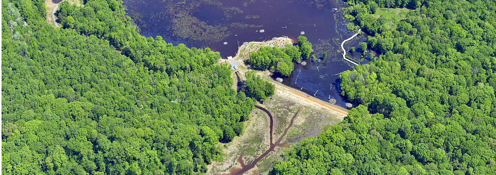 Aerial view of Huntley Meadows after the wetlands reconstruction