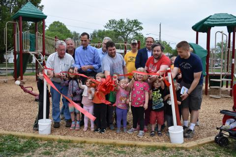 Ribbon Cut on New Playground at Alexandria's Bucknell Manor Park