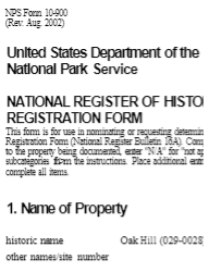 National Register of Historic Places - Oak Hill document