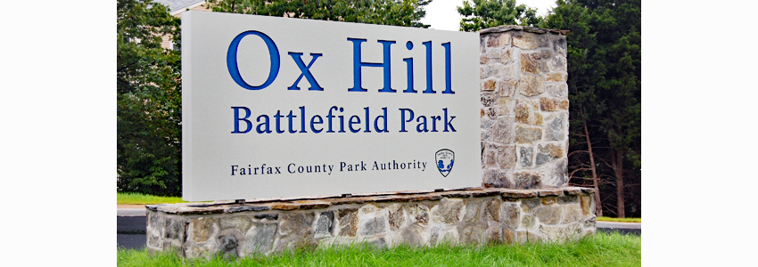 Entrance sign at Ox Hill Battlefield Park