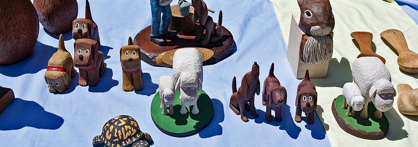 A selection of animal wood carvings