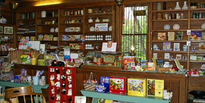 Shelves lined with products inside the general store