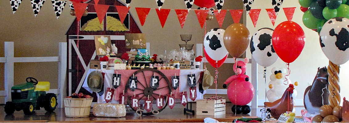 Farm-themed birthday party decorations on the visitor center stage