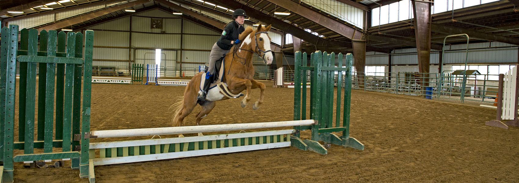 Horse and rider jump over rails on indoor course