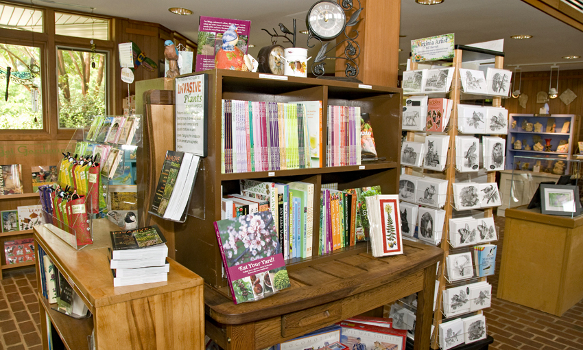 Books and cards on display in Green Spring's gift shop