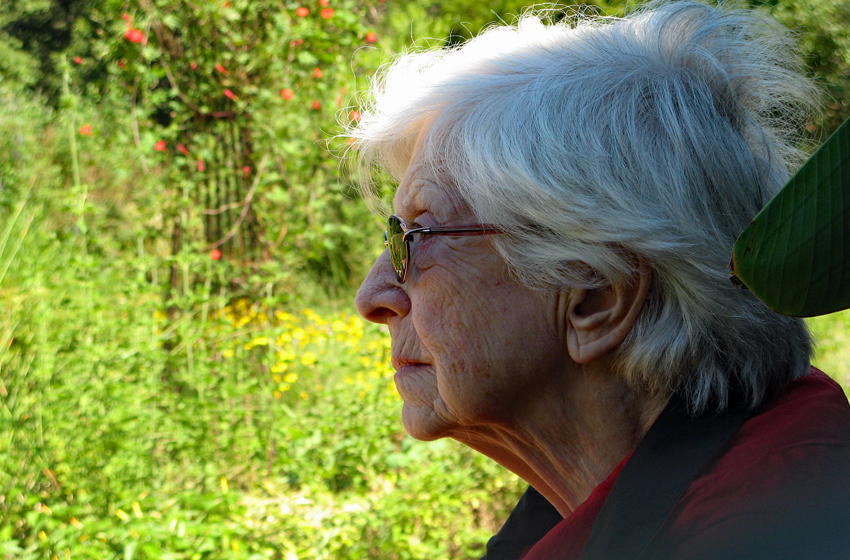 Woman sits and rests while looking at a garden in bloom