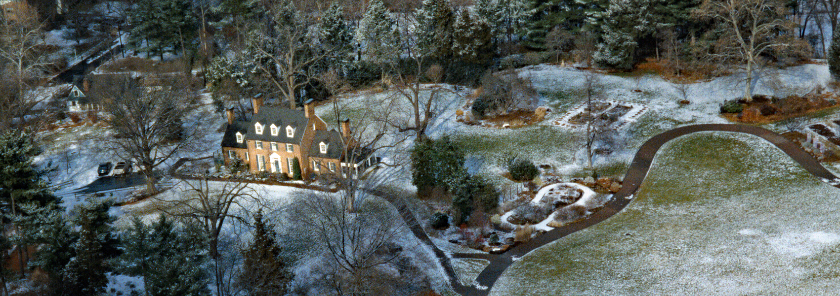An aerial view of Green Spring Gardens on a winter night