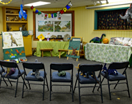 Chairs and decorations arranged for a birthday party