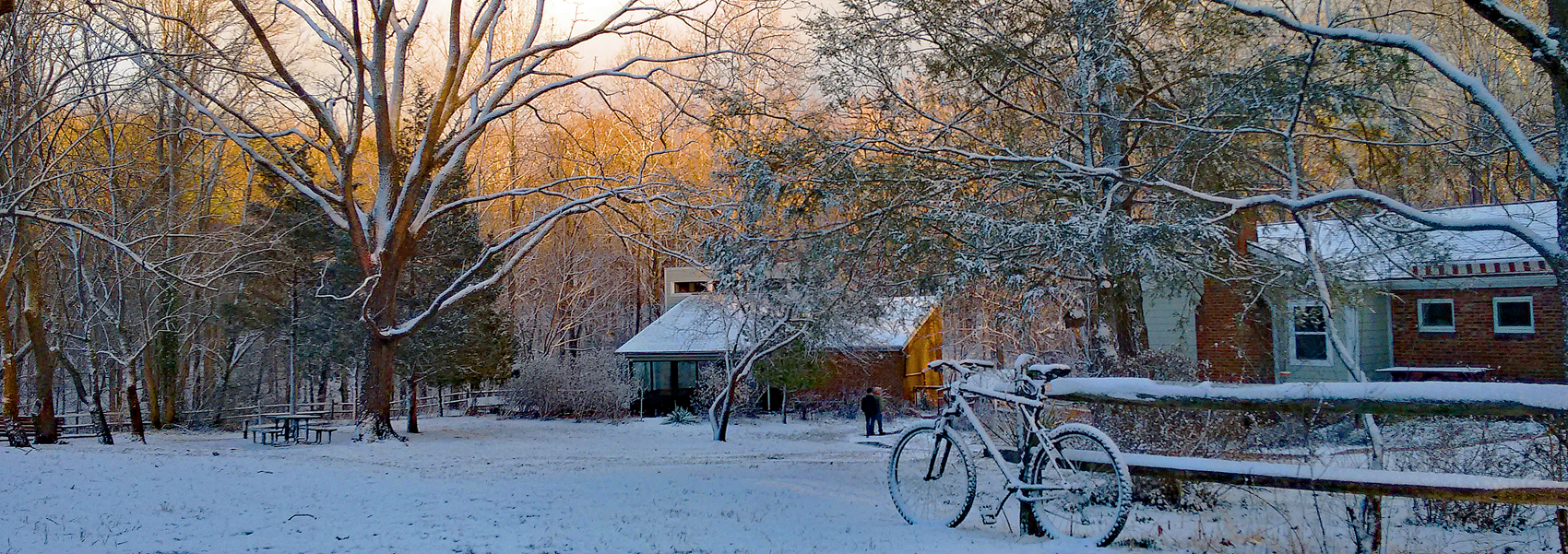 The Hidden Oaks Nature Center exterior in winter