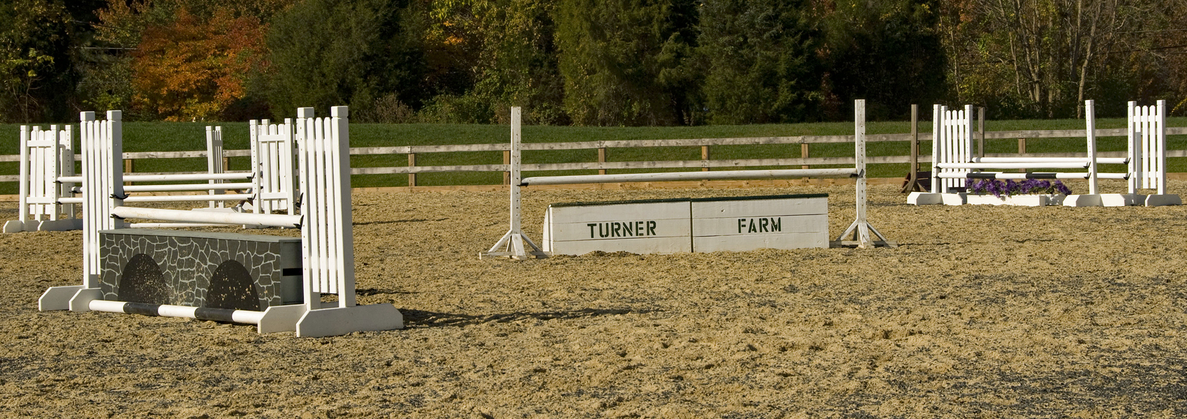 A series of jumps in the Turner Farm riding ring