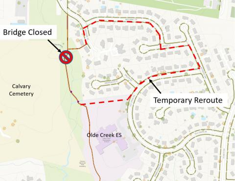 Temporary Trail Detour Due To Smokewood Park Bridge Closing