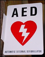 AED (Automatic External Defibrillator) locations at Burke Lake Park are indicated by this sign.