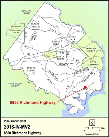 Location Map for 8800 Richmond Highway Comprehensive Plan Amendment