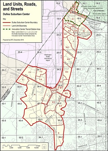 Map of the Dulles Suburban Center and Land Units