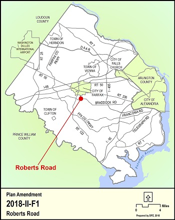 Location Map for the Roberts Road Comprehensive Plan Amendment