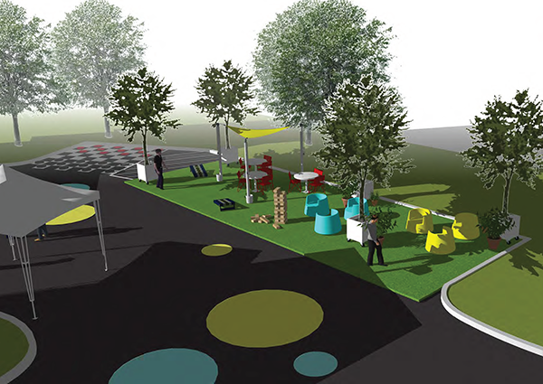 Illustration of the demonstration park in the parking lot of the Annandale Volunteer Fire Department.