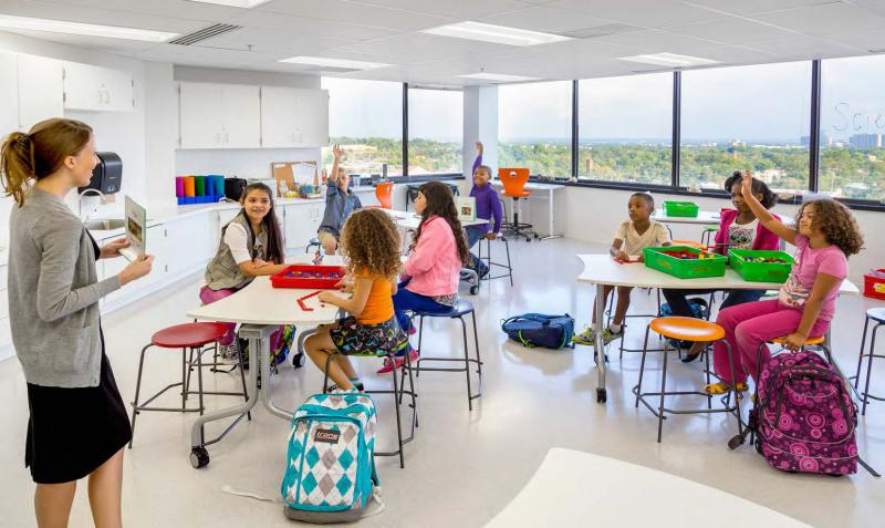 "A classroom in Baileys Elementary, Fairfax County first ""high-rise"" school in a converted office building."