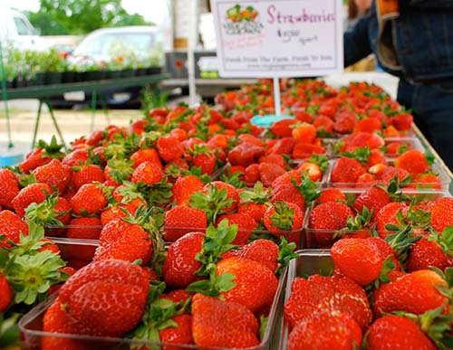 Strawberries at farmers market.
