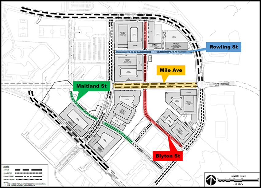 New local streets planned as part of The Mile in Tysons.