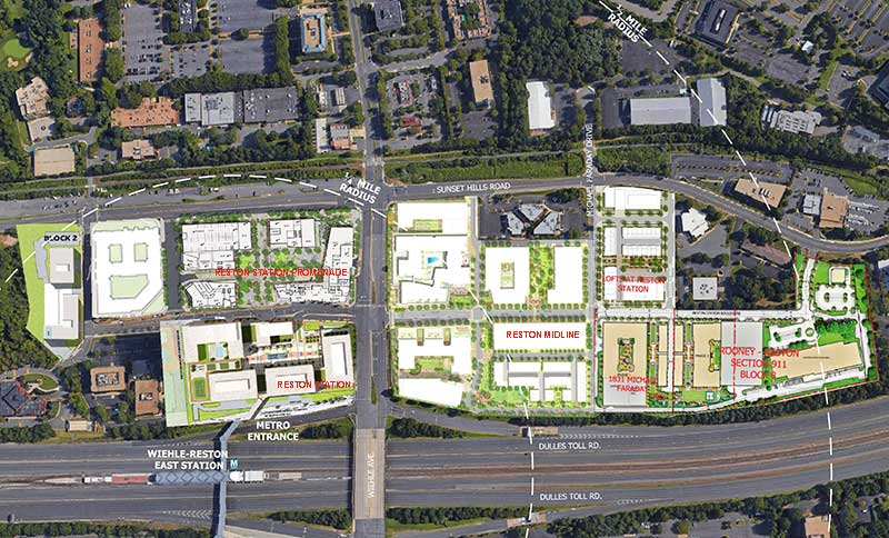 Approved development surrounding the north side of the Wiehle-Reston East Metro Station.